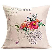 Throw Pillow Covers, Kimloog Oil Painting Home Bedroom Sofa Waist Linen Cushion Pillowcase (E)