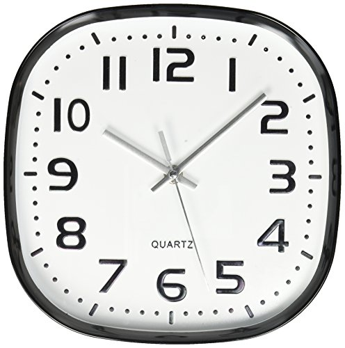 Uniware CL348 Round Square Wall Clock, Silent Non Ticking Quality Quartz Battery Operated