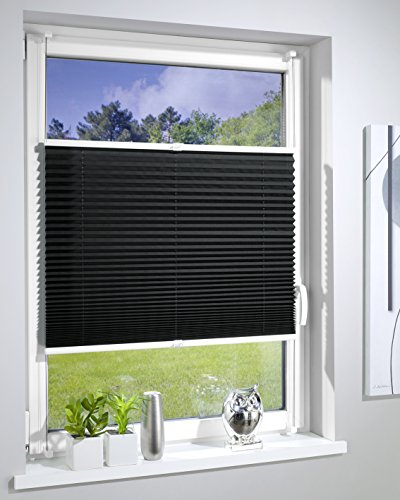 DecoProfi PLISSEE anthrazit/schwarz, verspannt, Breite 70cm x 130cm (max. Gesamthöhe Fensterflügel), mit Klemmträger / Klemmfix / ohne Bohren