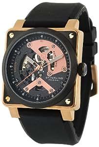 Stuhrling Original Men's 179A.334641 Leisure Raven Diablo Automatic Skeleton Black/Rose Gold-Tone Watch