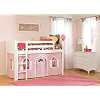 Bolton Furniture 9811500LT1PW Cottage Low Loft Bed with Bottom Pink/White Playhouse Curtain, White