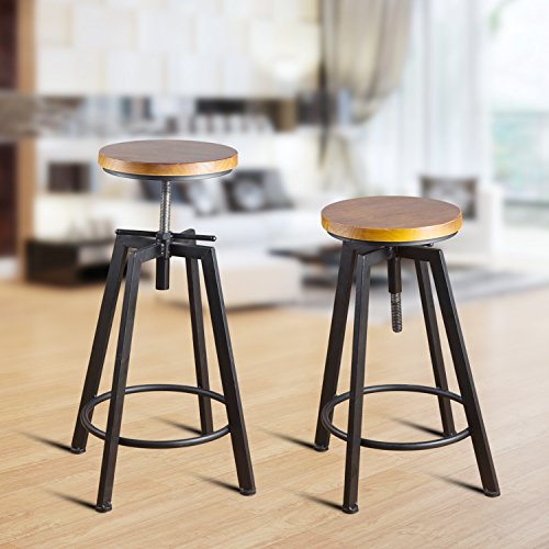 Round Wood Seat Bar/Counter Height Adjustable Swivel Metal Bar Stool/Chair for Bistro Pub Breakfast Kitchen Coffee, Set of 2, Black