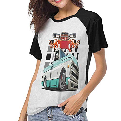 Truck,Custom Baseball Short Sleeves S-XXL(This is for Size Small) Lowrider Pickup with Racing Flag Pattern Background Speeding on The Streets Modi,T Shirts