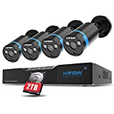 H.VIEW POE NVR Surveillance Camera System, 4ch 1080P NVR IP Home Security Camera System with 4Pcs Waterproof 2MP 3.6mm Fixed Lens P2P Cameras & 2TB HDD,100FT Night Vision