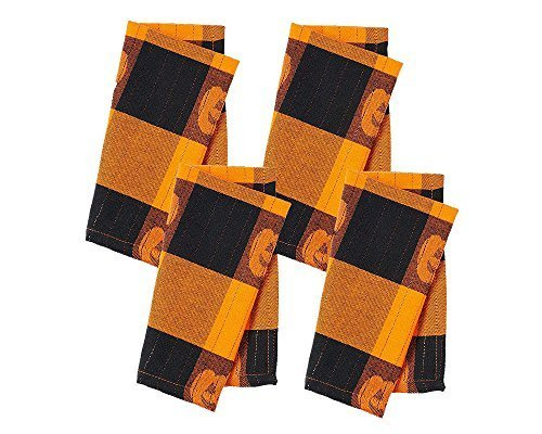 Halloween Pumpkin Jacquard Plaid 4-pc. Napkin Set,