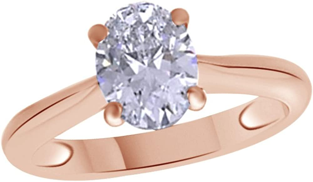 1.25 Carat Jewel Zone US Oval Shaped White Cubic Zirconia Anniversary Solitaire Ring in 14k Gold Over Sterling Silver