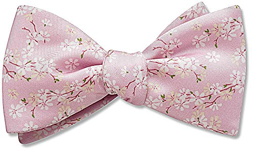 Cherry Blossom Pink Pictorial, Men's Bow Tie, by Beau Ties Ltd of Vermont