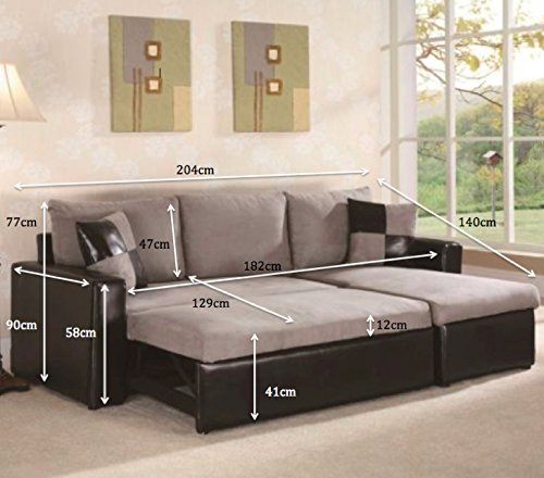 RIO L SHAPE SOFA WITH PULL OUT SOFA BED IN BLACK AND GREY: Amazon.co.uk:  Kitchen U0026 Home