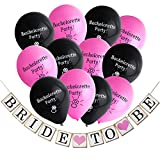Konsait Bachelorette Party Decorations Kit,Bride to Be Wedding Banner Garland for Bridal Shower Decorations with Set of 12 Bachelorette Party Balloons(10inch,Black and Pink)