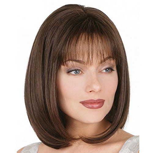 Beauty : KUNMEI Short Straight Wigs for White Women-Brown Bob Wigs Fashion Wigs with Bangs-Daily Cosplay Party Wigs
