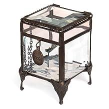 J Devlin Box 589-2 Beveled Glass Keepsake Jewelry Box with Friends Charm