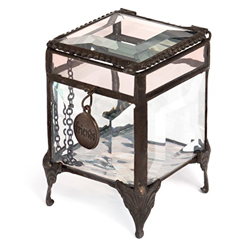 J Devlin Box 589-2 Beveled Glass Keepsake Jewelry Box with Friends Charm (Small Champagne Glasses)
