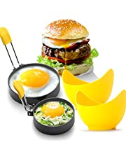 """Large 3""""and 4""""Nonstick Egg Rings, Round Breakfast Household Mold Cooking Tool for English Muffins Pancake Cooking Griddle - Portable Grill Accessories for Camping Indoor Frying Meat Pie Sandwich Burger Egg Maker Molds Set"""