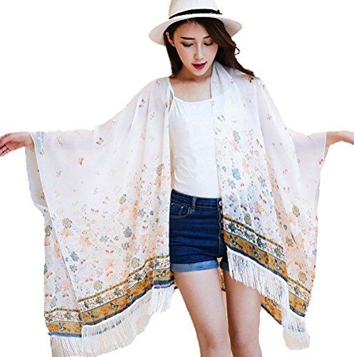 Women's Tassel Chiffon Cover up Tunic Kimono Cardigan with Floral