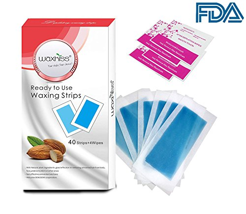 40 Counts Hair Remover Cold Wax Strips For Legs and Body, Women and Men to Depilatory Waxing, Removal Wax Strip Paper with 4 Cleaning wipes