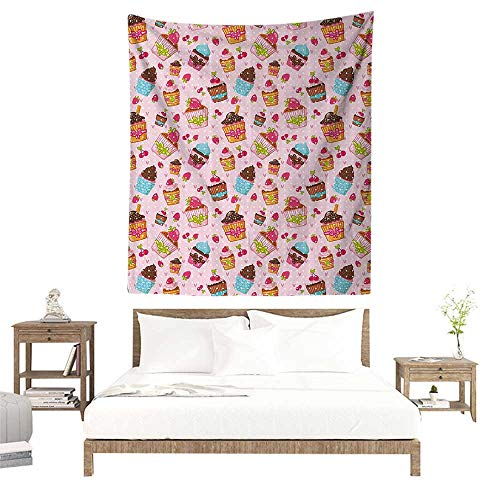 Large Wall Tapestry,Pink,Decorations for Kitchen Cupcakes Muffins Strawberries and Cherries Print,Light Pink and Brown W63 x L63 inch Living Room Bedroom Dorm Decor ()