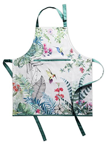 Maison d' Hermine Tropiques 100% Cotton Apron with an Adjustable Neck and Hidden Center Pocket 27.5 Inch by 31.5 Inch