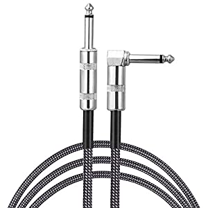 Instrument Guitar Cable Sinhery 3M Music Guitar Lead Cable for Electric Guitar Bass Microphone Straight Jack to Angled Jack (Grey)