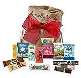 Vegan Snack Attack | vegan chocolate bars and vegan snacks gift hamper by The Yummy Palette | 13 bars and snacks in Basically British Rustic Gift Bag