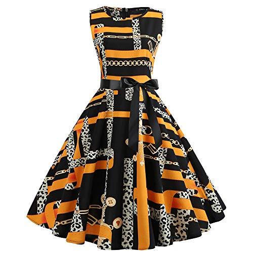 Leomodo Women's Summer Fashion Casual Sleeveless Ribbon Print A-Line Dress (Cape Coral Hop The)