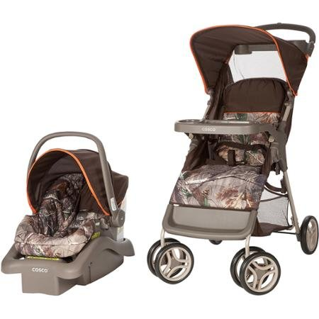 Cosco Lightest Car Seat Carrier Strollers Lift and Stroll Travel System, Realtree/orange