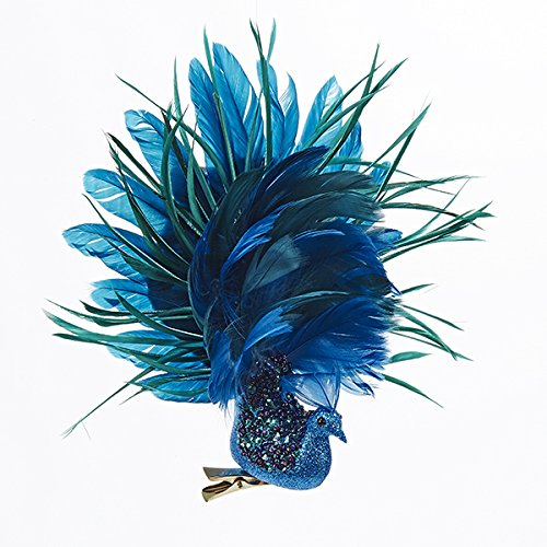 Feather Ornaments Christmas (Glittered Peacock Clip Ornament w Feathers 8x9x2 inch by Kurt Adler)