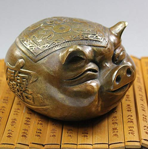 (Viet JK Statues & Sculptures - Chinese Zodiac Fortune Copper Pig Collection Upscale Home Furnishing Birthday Gift Brass Sculpture Statue Shipping - by GTIN - 1 Pcs )