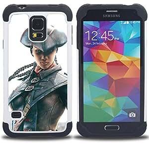 """SAMSUNG Galaxy S5 V / i9600 / SM-G900 - 3 en 1 impreso colorido de Altas Prestaciones PC Funda chaqueta Negro cubierta gel silicona suave (Bombilla Hombre en juego"""")"""