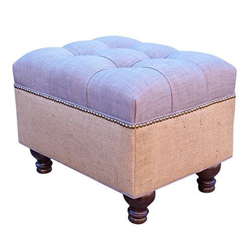Grey Linen and Burlap Tufted Ottoman USA~ Design 59 Furniture