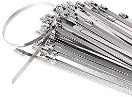 300mm Exhaust Wrap Coated Locking Cable Zip Ties 100pcs ANZESER Stainless Steel Zip Ties 4.6
