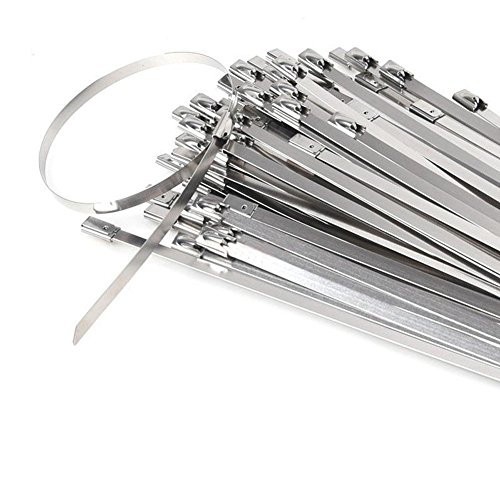 "Stainless Steel Cable Ties, 100 pcs 7.9"" Exhaust"