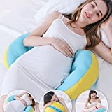 cumay Pregnancy Pillow for Maternity sleeping Pillows Support Body, Belly, Back, Knees (Yellow-Blue)