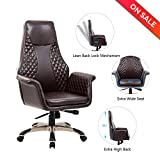 LCH High Back Bonded Leather Executive Office Chair with Lean Back Lock Mechanism,Adjustable Tilt Angle, Thick Padding For Comfort and Ergonomic Design For Lumbar Support Brown -1014