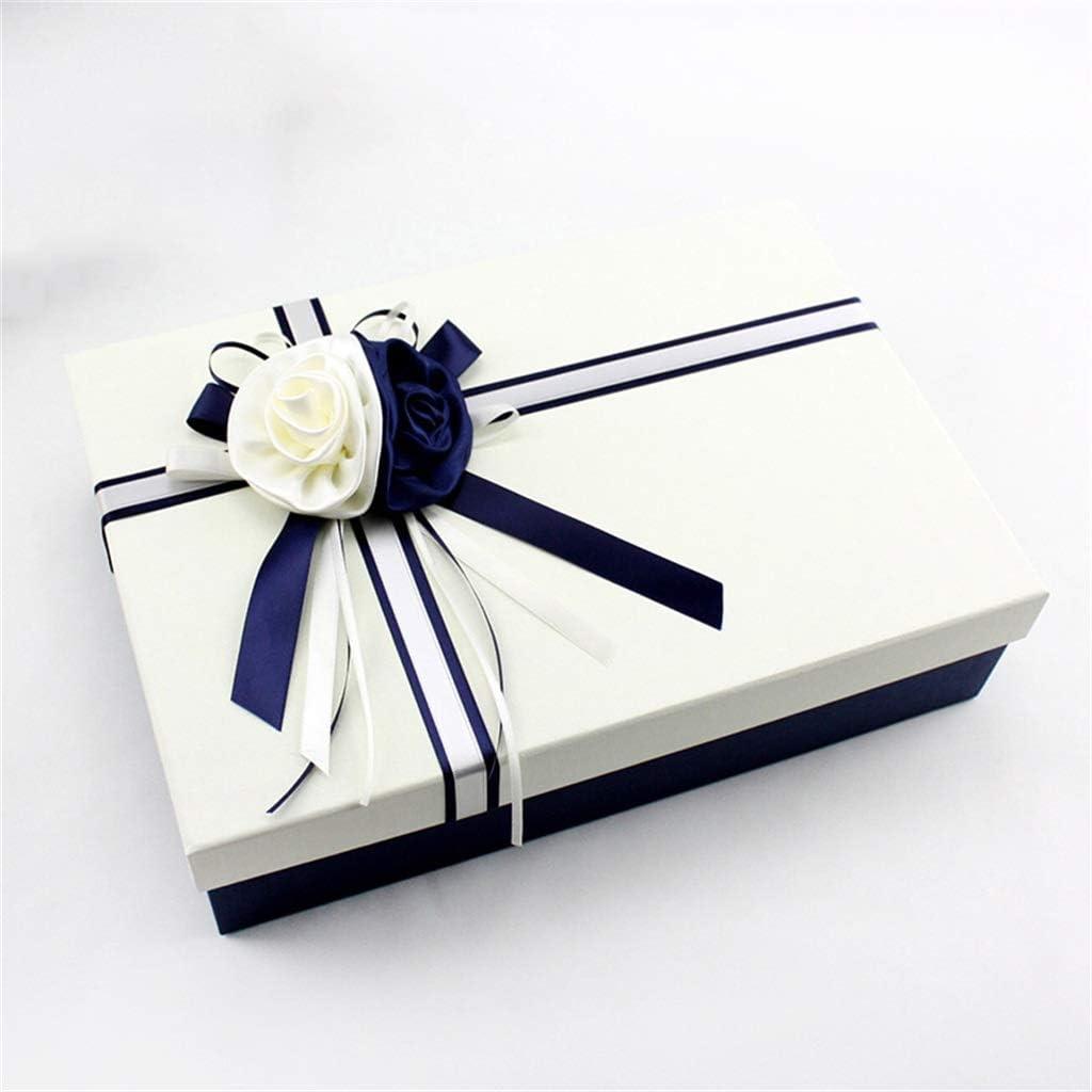 Caja de Regalo Rectangular de tamaño Grande Material de cartón Duro Accesorios de Flor Doble de poliéster para el cumpleaños de Vacaciones: Amazon.es: Hogar