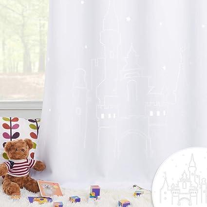 PONY DANCE Rideaux d\'Etoile Enfant - Décoration Fantastique 2 Couches  Panneux Occultants avec Château Creux, Elegant pour Bébé Salon Chambre, 132  x ...