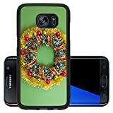 Luxlady Premium Samsung Galaxy S7 Edge Aluminum Backplate Bumper Snap Case IMAGE ID: 34137474 top view christmas background with painted pine cone wreath and decoration