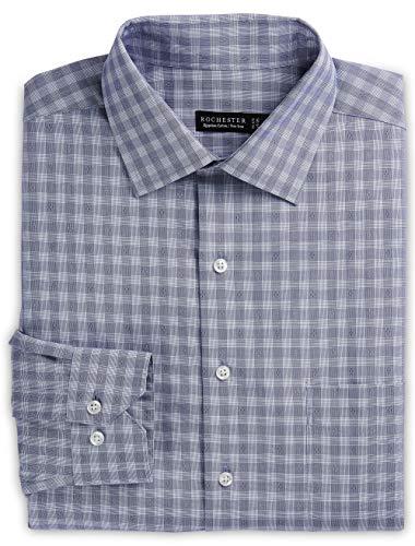 (Rochester by DXL Big and Tall Non-Iron Tonal Dobby Plaid Dress Shirt, Purple, 19-36/37)