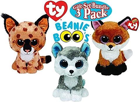 TY Beanie Boos Buckwheat (Brown Lynx), Slick (Brown Fox) & Slush (Husky) Gift Set Bundle - 3 Pack (Ty Stuffed Husky)