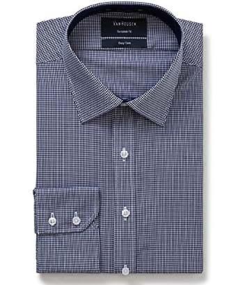 Van Heusen Men's Euro Fit Shirt Mini Check, Navy, 38