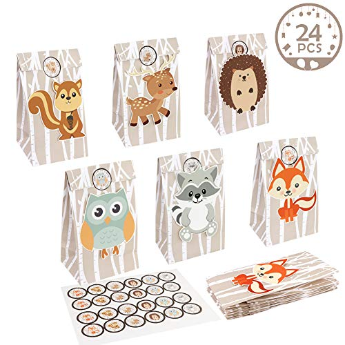 Reindeer Goody Bag - OurWarm 24pcs Woodland Party Favor Bags, 3D Animals Candy Treat Gift Bags with Thank You Stickers for Kids Woodland Animals Theme Baby Shower Birthday Party Decorations Supplies, 6 Styles