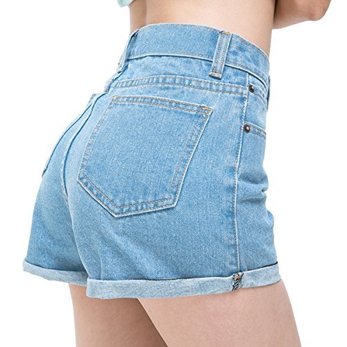 - Womtop Summer Women Shorts Vintage Retro Junior Jean Shorts High Waist Crimping Denim Shorts Women (S, Blue)