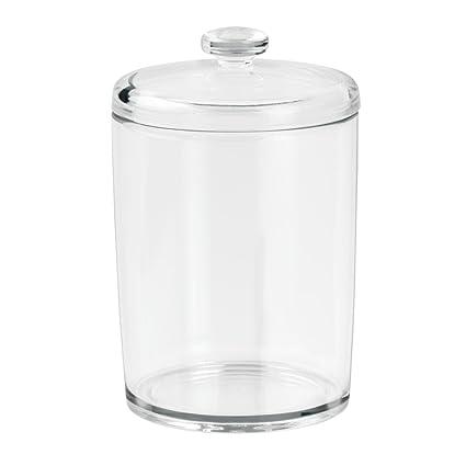 InterDesign Basic caja almacenaje | Bote para discos desmaquillantes | Accesorios para baños para bolas de algodón o cosmética | Plástico transparente