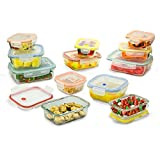 small glass locking containers - 24 Piece Set of Glass Food Storage Meal Prep Containers & Airtight Locking Lids with Microwave Steam Release Valve- Small Medium & Large Dishwasher Safe BPA/Free & Durable- Safely Goes Freezer to Oven