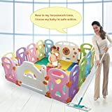 Baby Playpen Kids Activity Centre Safety Play Yard Home Indoor Outdoor with 14 Panels New Pen (14panels, Castle)