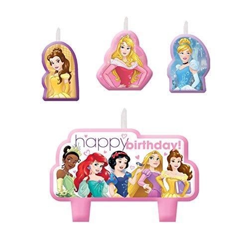 [Disney Princess Dream Big Printed Cake Cupcake Candle Set 4 Pack Party Supplies] (Disney Princess Cinderella Candle)