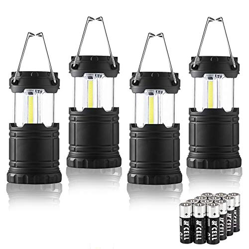 4 Pack Portable LED Camping Lantern, TACLIGHT Mini LED Lantern Collapsible Outdoor Lantern with Batteries, Small Lantern Suitable for Kids Emergency Light Lantern for Power Outage, Hurriance