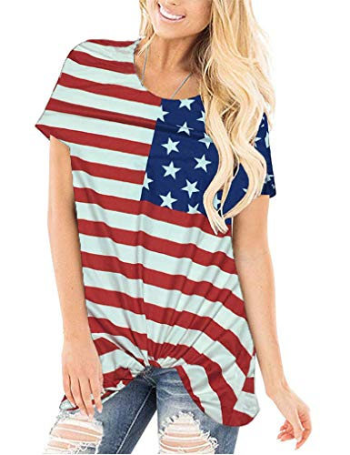 Miselon Womens Shirts Short Sleeve Summer Tshirts for Junior Loose Casual Tops Round Neck Cotton Tees (Small, American Flag)