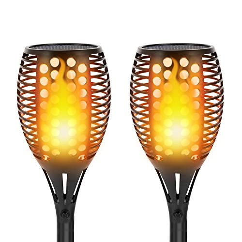 Solar Torch Lights,Dancing Flame Lighting 96 LED Flickering Tiki Torches Waterproof Wireless Auto On/Off Outdoor Light for Patio Garden Path Yard Wedding Party(2 Pack)