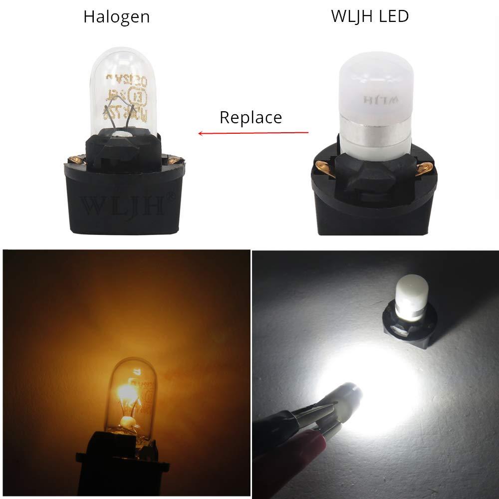 WLJH Red T10 ha condotto le luci del cruscotto della lampadina PC194 PC195 PC168 Quadro strumenti Quadro strumenti Cruscotto calibro W5W 194 lampadine 12V Twist Locks Presa Base confezione da 6