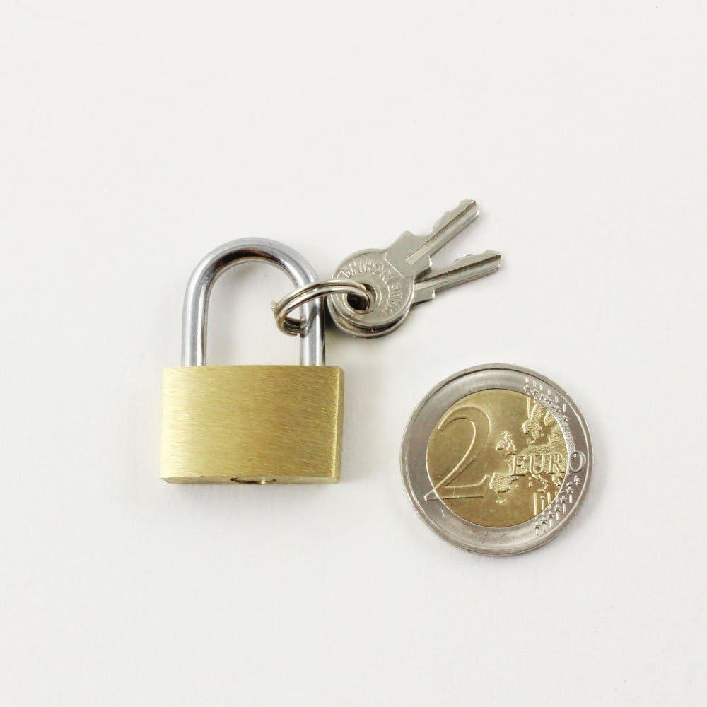 04 pi/èces - 20 mm Petit verrou pour Bagages et Sacs de Voyage com-four/® 4X Cadenas en Laiton Cadenas /à 3 cl/és